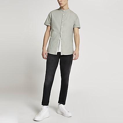Maison Riviera khaki slim fit grandad shirt
