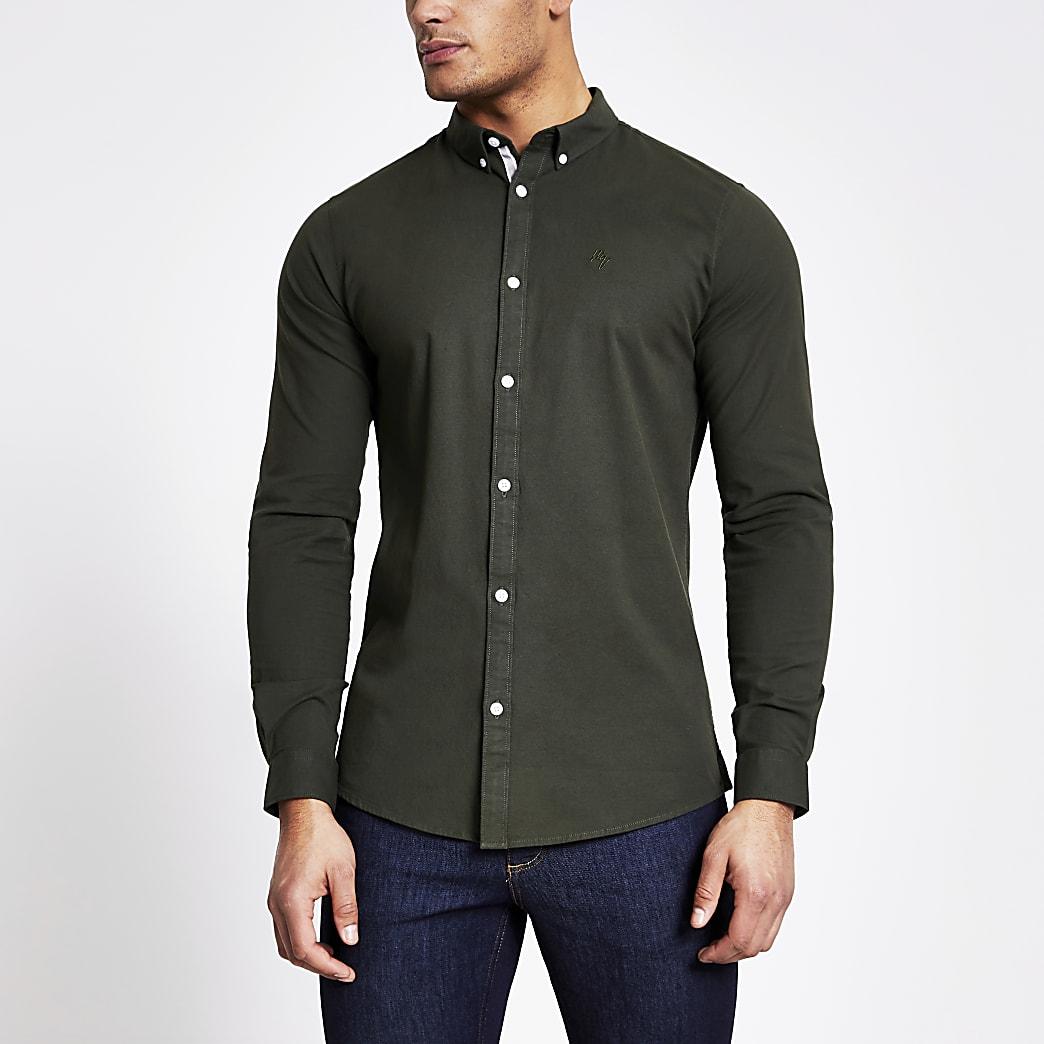 Maison Riviera - Kaki slim-fit Oxfordoverhemd