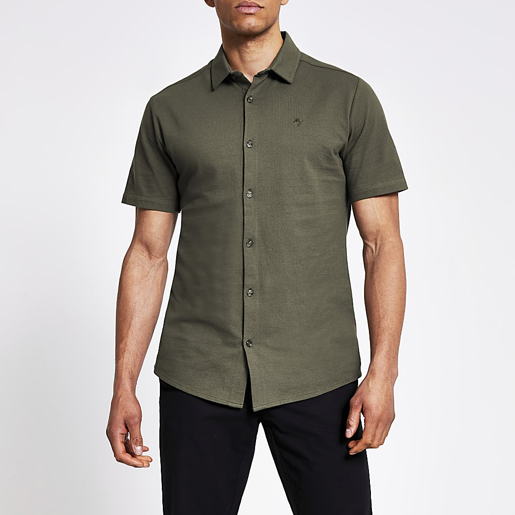 Maison Riviera khaki slim fit pique shirt