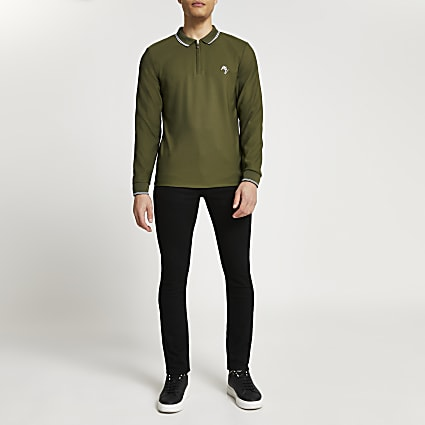 Maison Riviera khaki slim fit polo