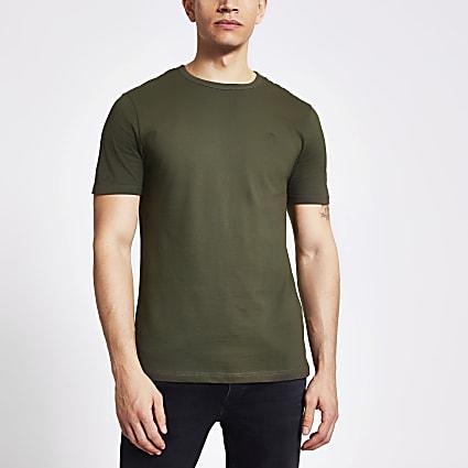 Maison Riviera khaki slim fit T-shirt