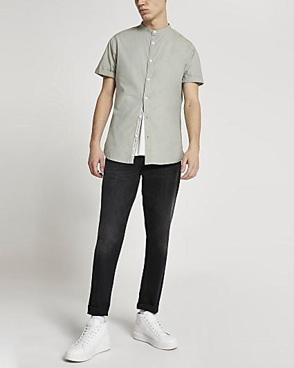 Maison Riviera khaki slim short sleeve shirt