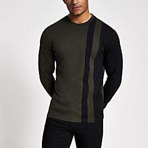 Maison Riviera – Gestreiftes T-Shirt mit Blockfarben in Khaki