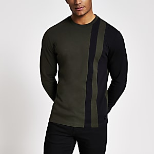 Maison Riviera – T-shirt kaki colourblockà rayures