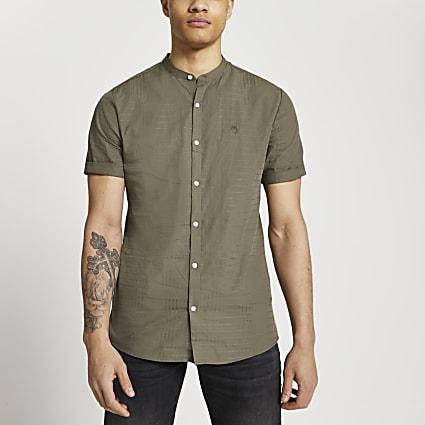 Maison Riviera khaki textured grandad shirt