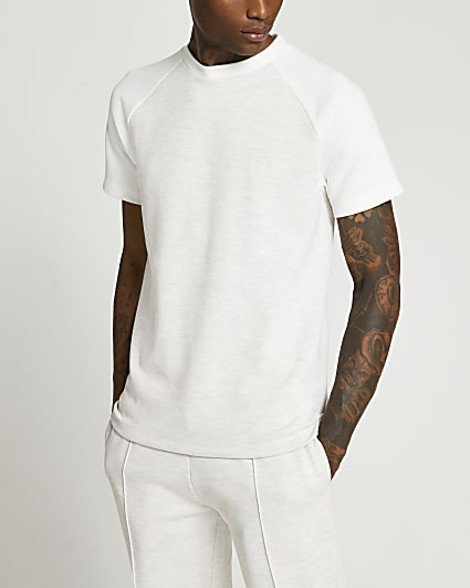 Maison Riviera light brown slim pique t-shirt