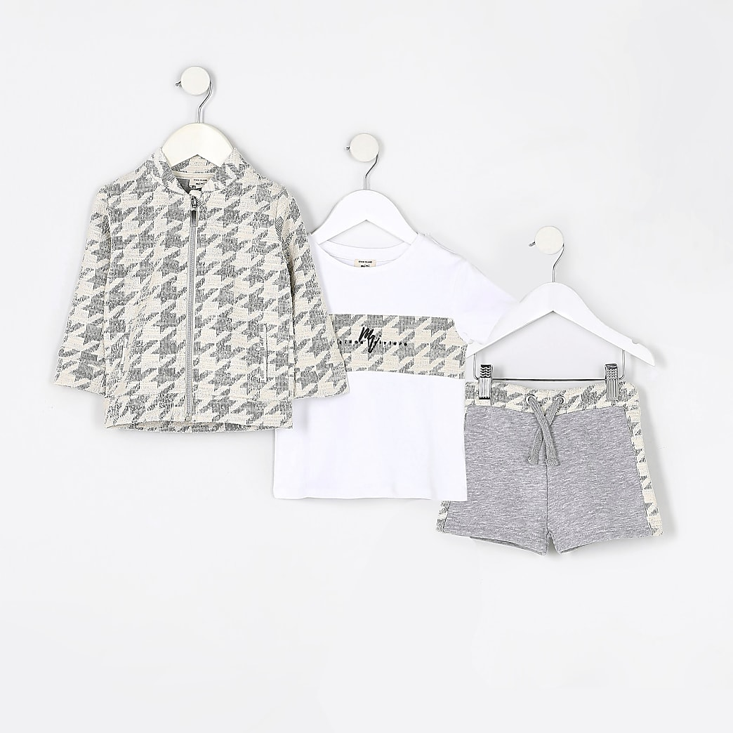 Maison Riviera mini boys grey dogtooth outfit