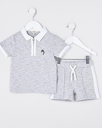 Maison Riviera mini boys grey polo outfit