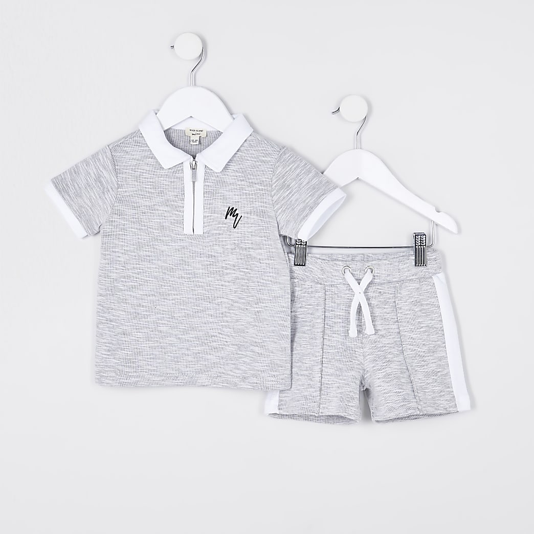 Maison Riviera mini boys grey polo outfit