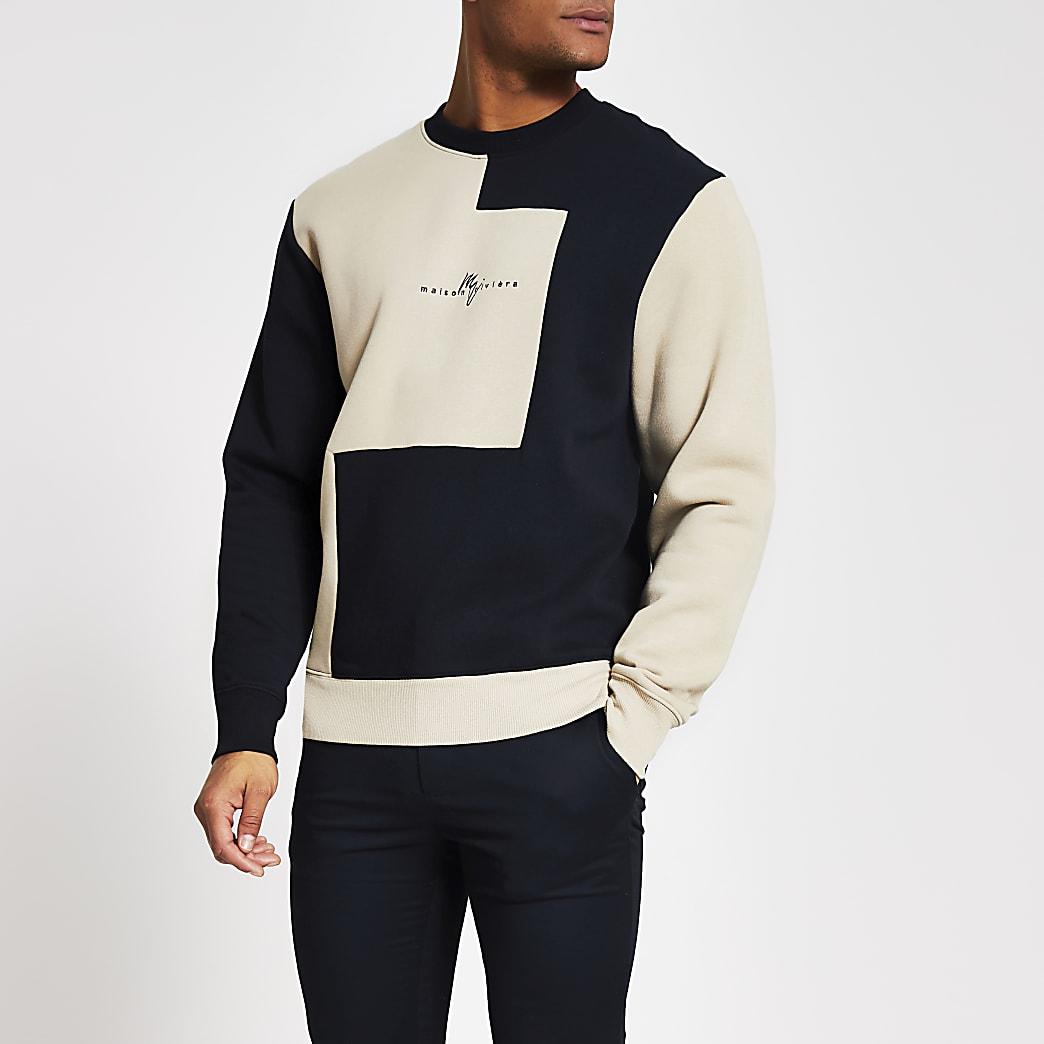 Maison Riviera - Marineblauwe slim-fit sweater met kleurvlakken