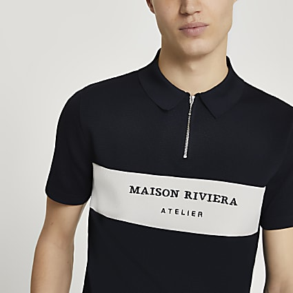 Maison Riviera navy colour block polo shirt