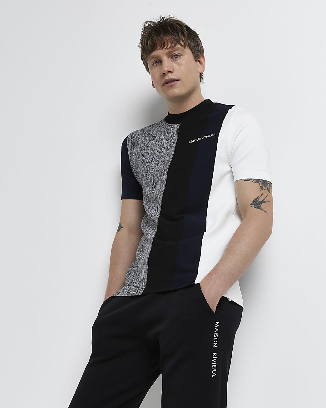Maison Riviera navy colour block t-shirt