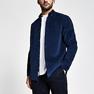 Maison Riviera - Marineblauw corduroy overhemd