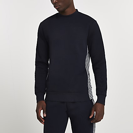 Maison Riviera navy dogtooth panel sweatshirt