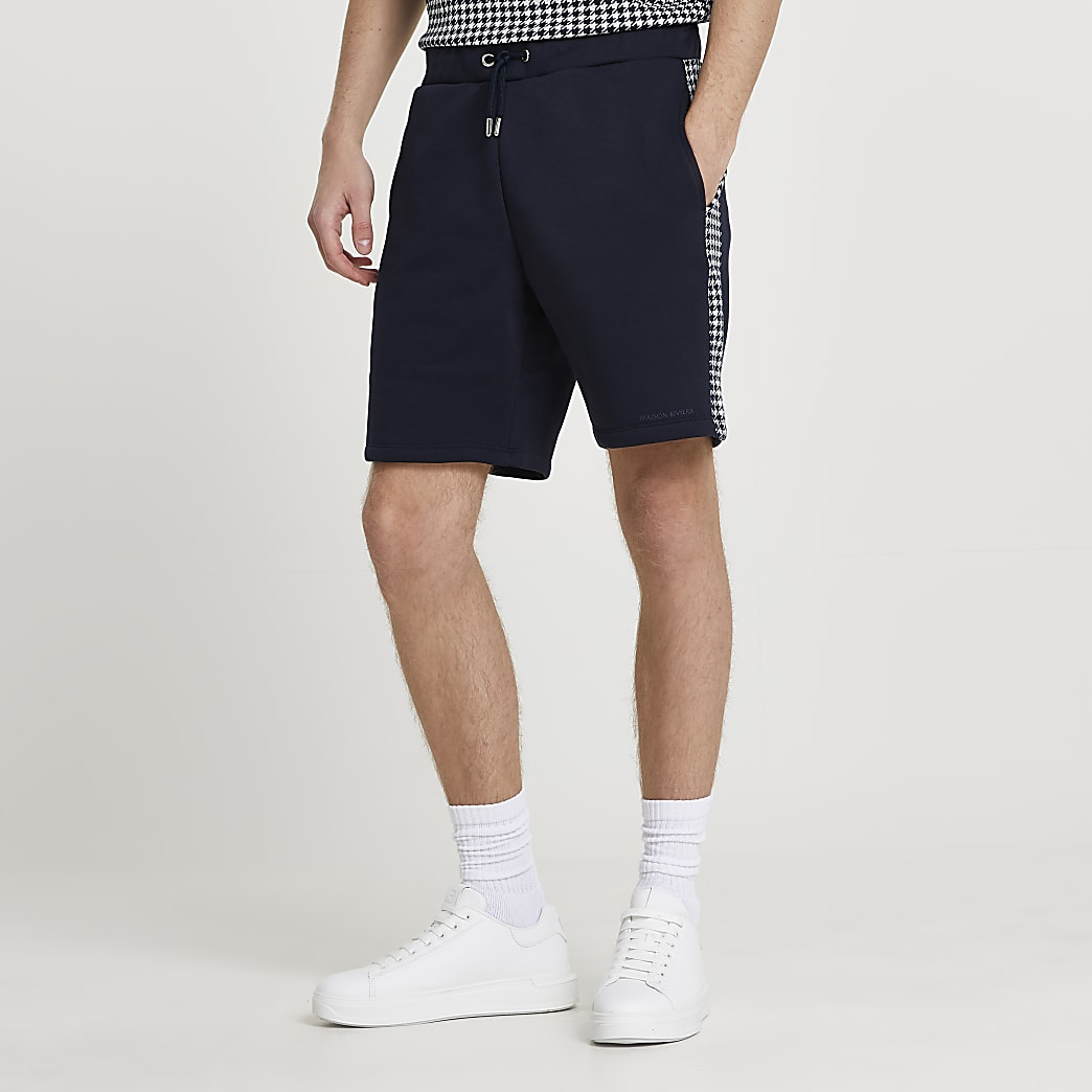 Maison Riviera navy dogtooth panelled shorts