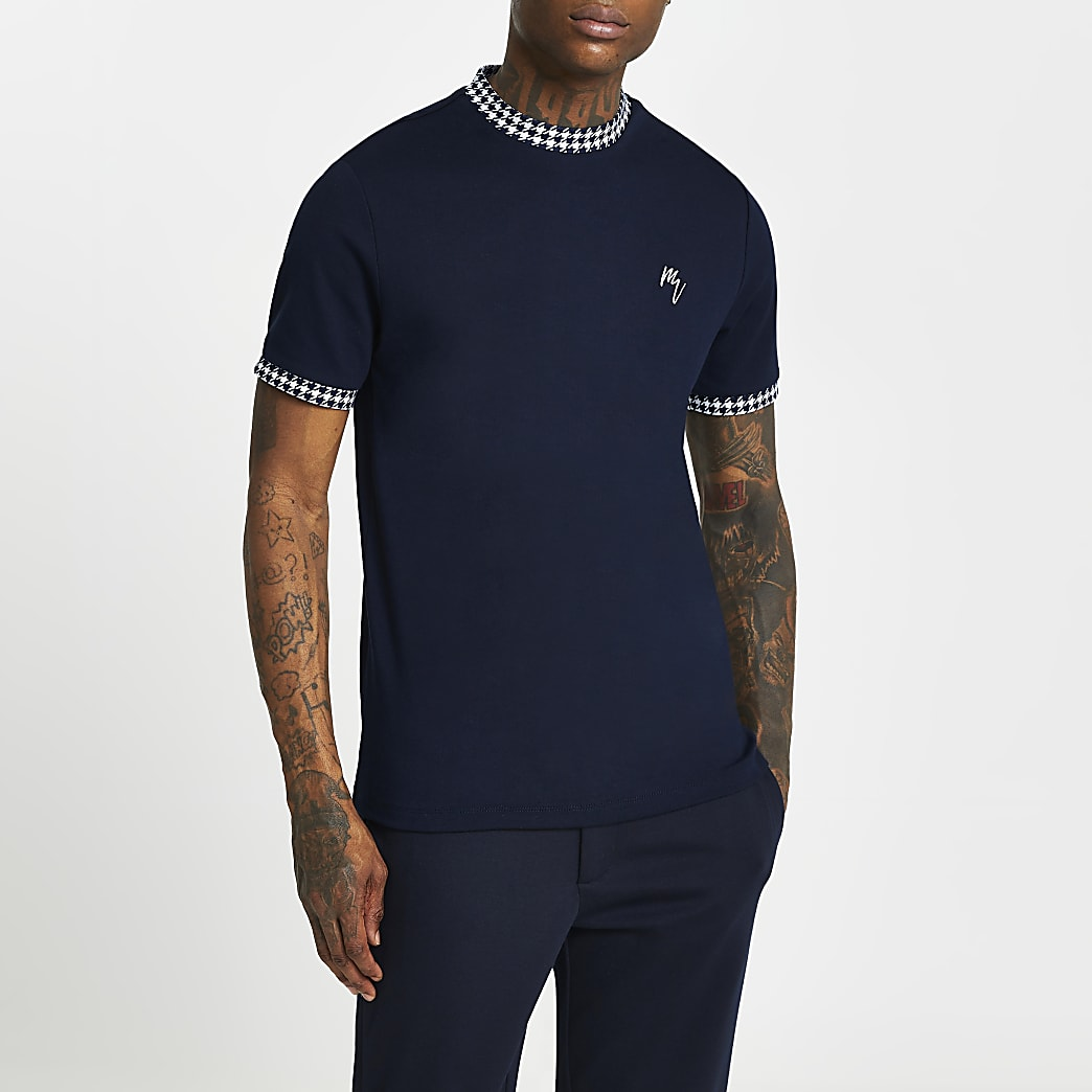 Maison Riviera navy dogtooth print t-shirt