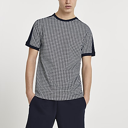 Maison Riviera navy dogtooth slim fit t-shirt