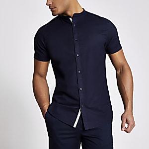 Maison Riviera – Marineblaues Hemd mit Grandad-Kragen