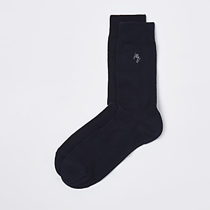 Maison Riviera navy herringbone socks 1 pair