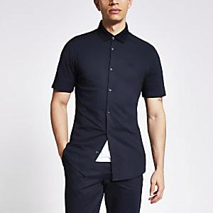 Maison Riviera – Marineblaues Kragen-Poloshirt aus Feinstrick