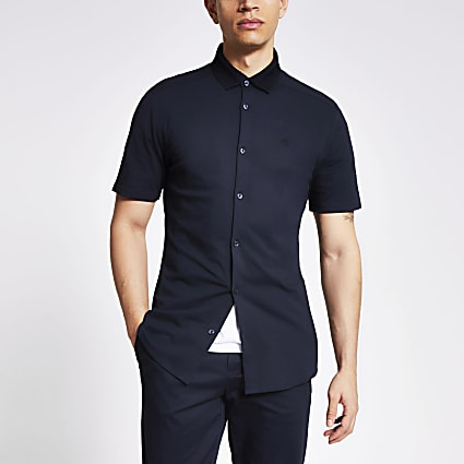 Maison Riviera navy knitted collar polo shirt