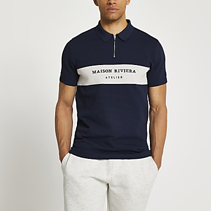 Maison Riviera navy polo shirt