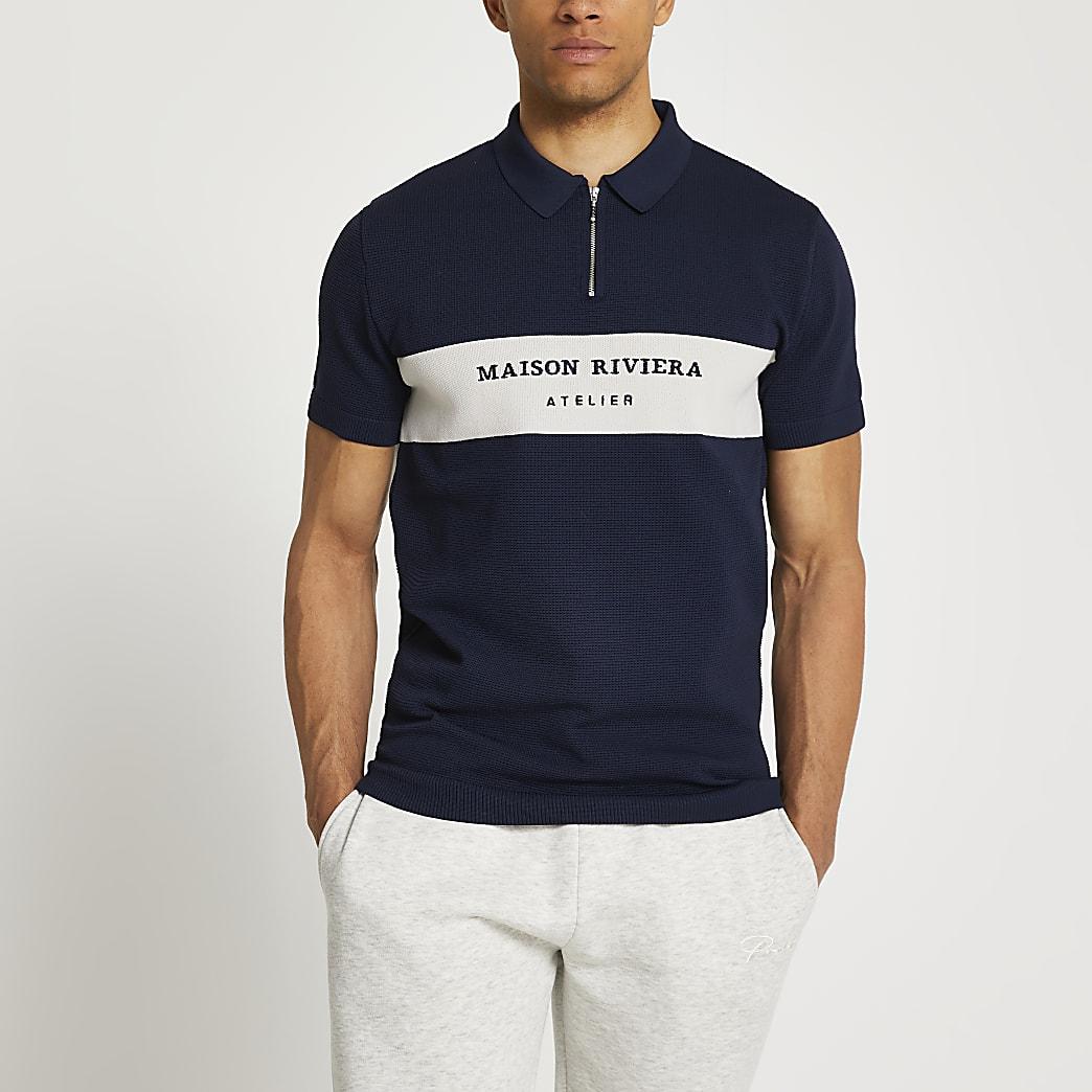 Maison Riviera navy polo shirt