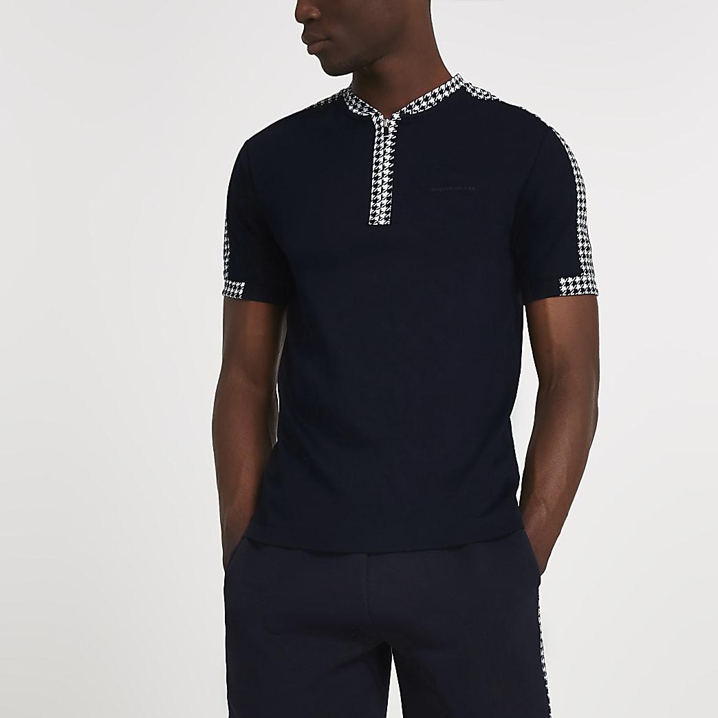 Maison Riviera navy print short sleeve shirt