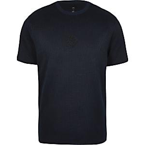 Maison Riviera navy seersucker slim T-shirt
