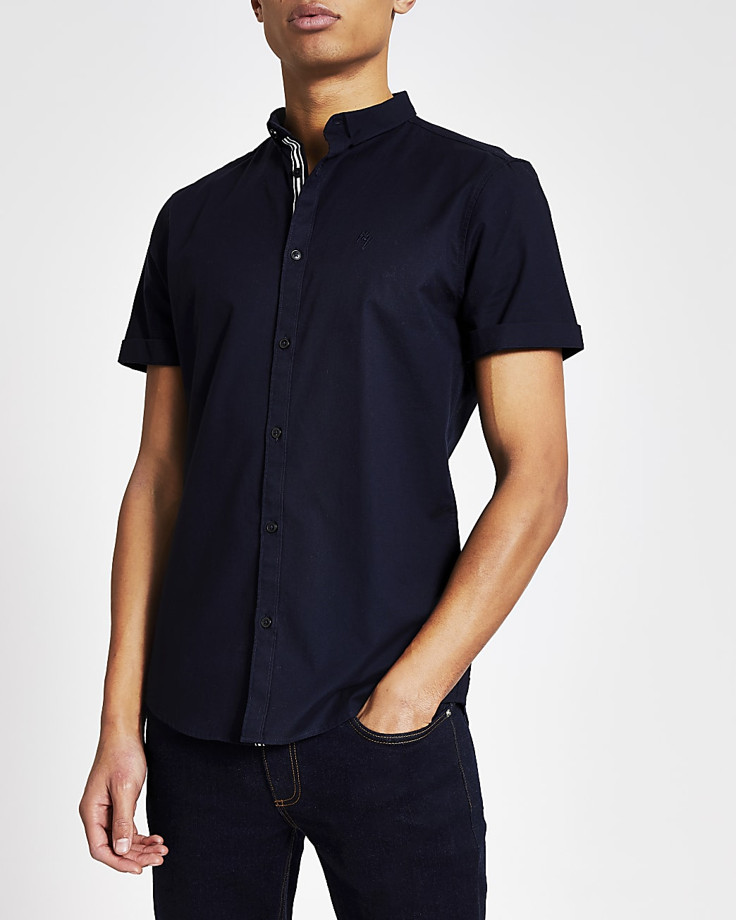 Maison Riviera navy short sleeve Oxford shirt