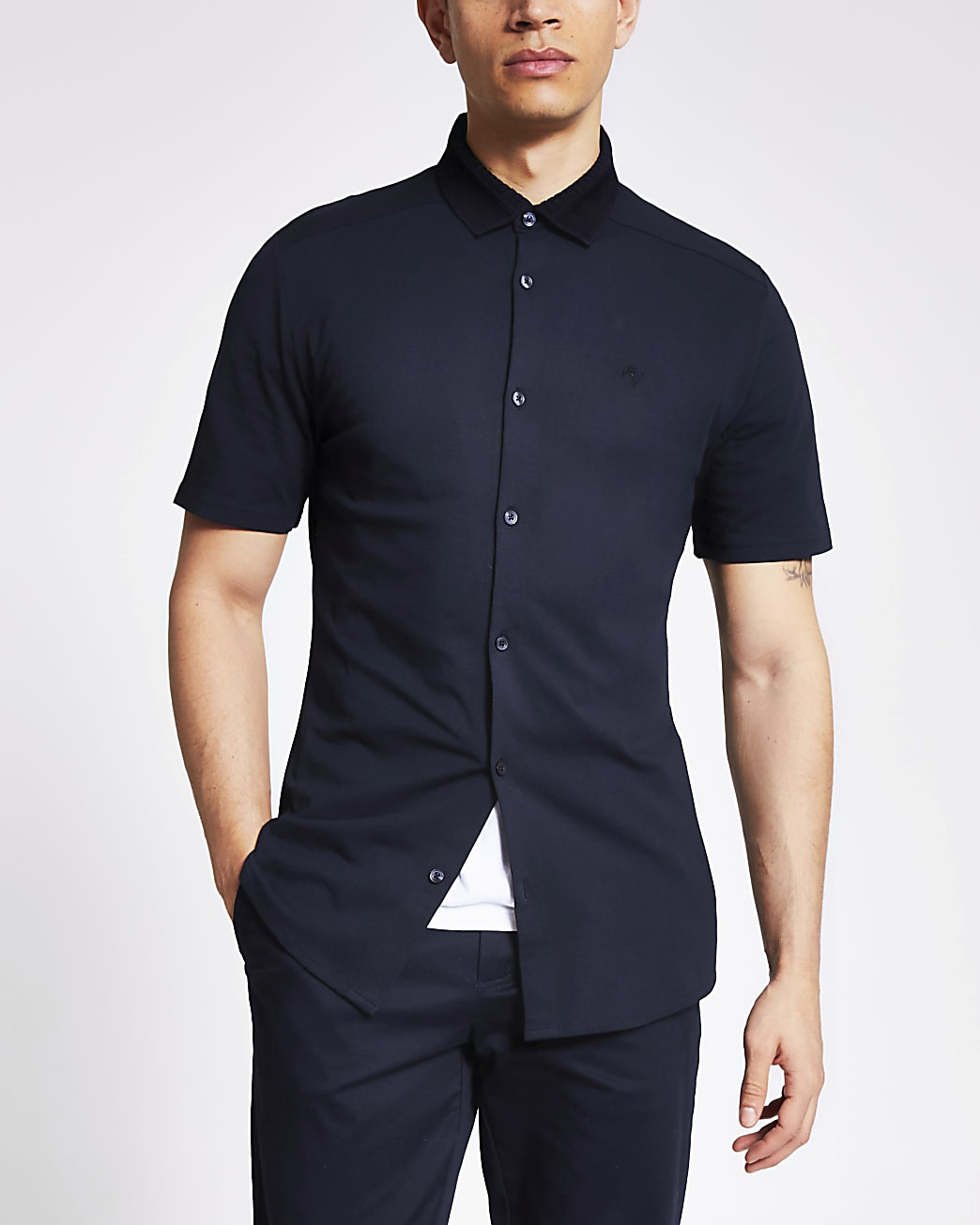 Maison Riviera navy short sleeve polo shirt