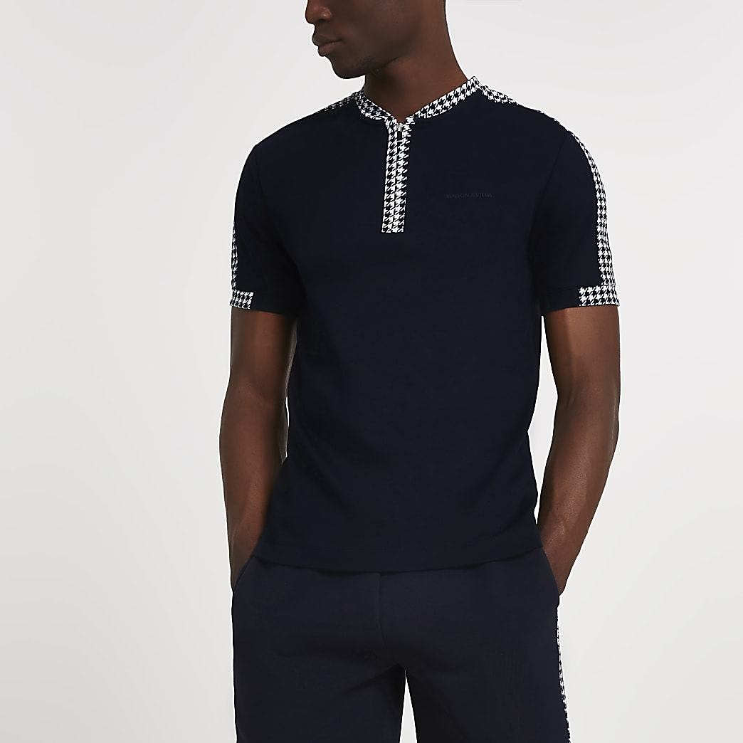 Maison Riviera navy slim fit dogtooth polo