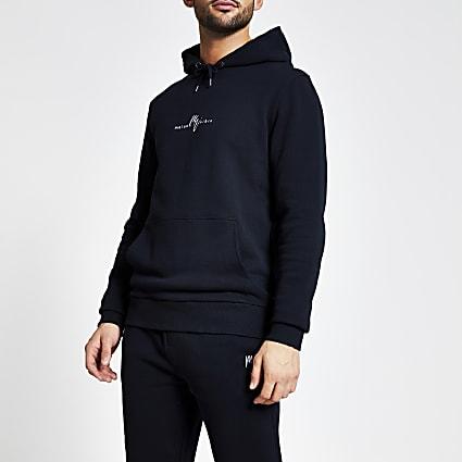 Maison Riviera navy slim fit hoodie