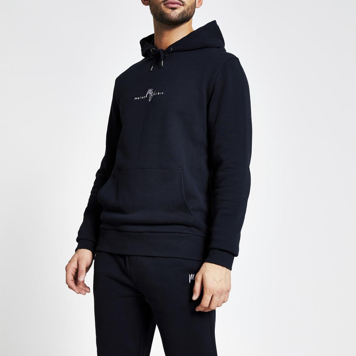Maison Riviera - Marineblauwe slim-fit hoodie