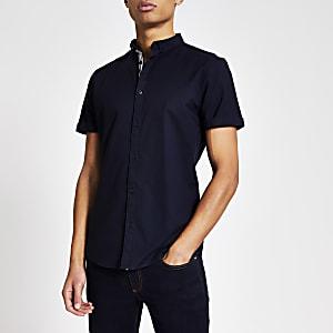 Maison Riviera - Marineblauw slim-fit Oxford overhemd