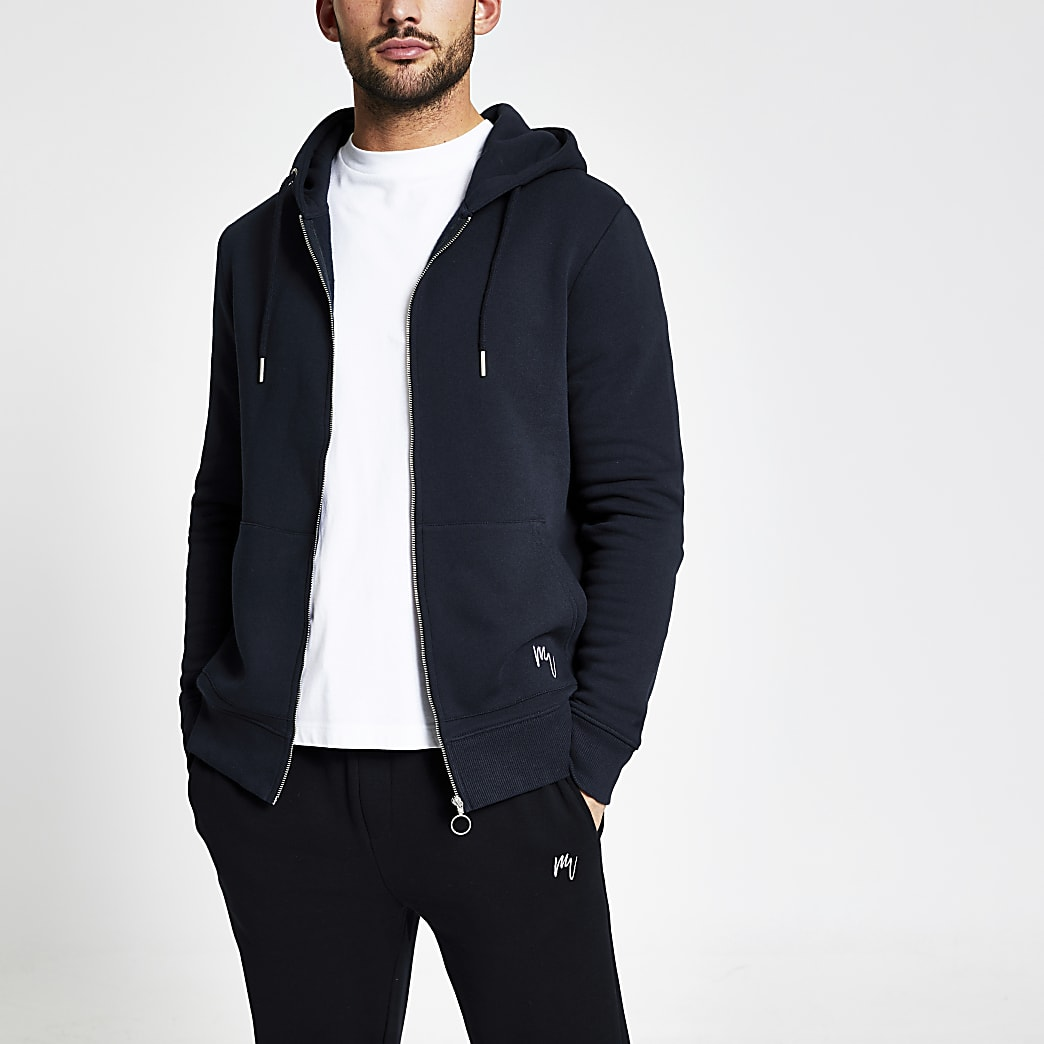 Maison Riviera navy slim fit zip up hoodie