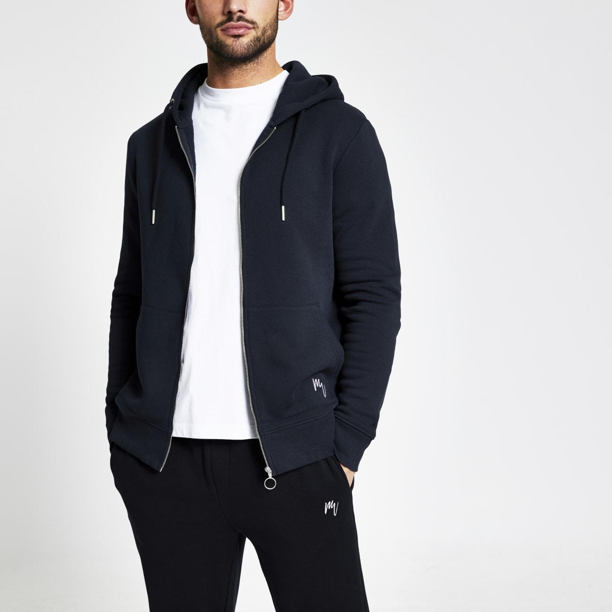 Maison Riviera navy slim fit zip up hoodie