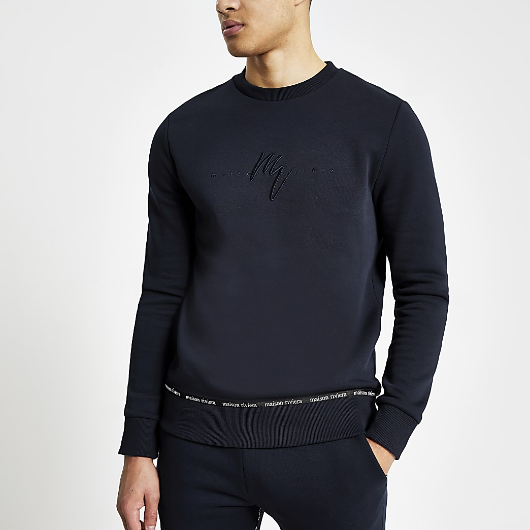 Maison Riviera navy taped sweatshirt