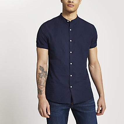 Maison Riviera navy textured grandad shirt