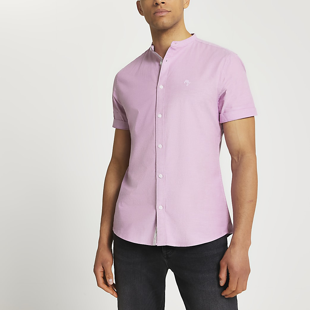 Maison Riviera pink slim fit grandad shirt
