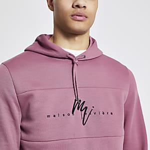 Maison Riviera pink slim fit hoodie