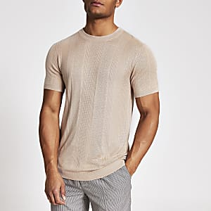 Maison Riviera – Pinkes Slim Fit T-Shirt aus Strick