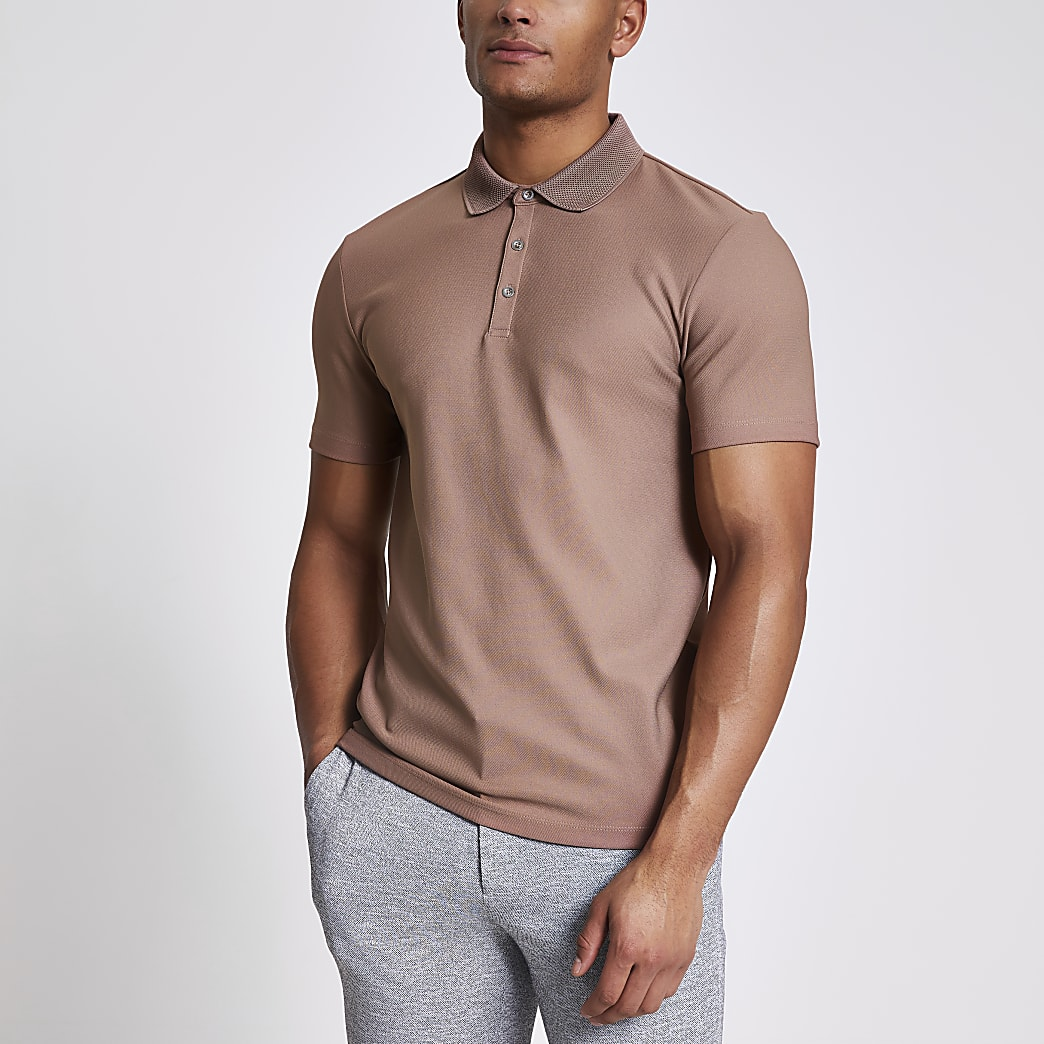 Maison Riviera pink slim fit polo shirt