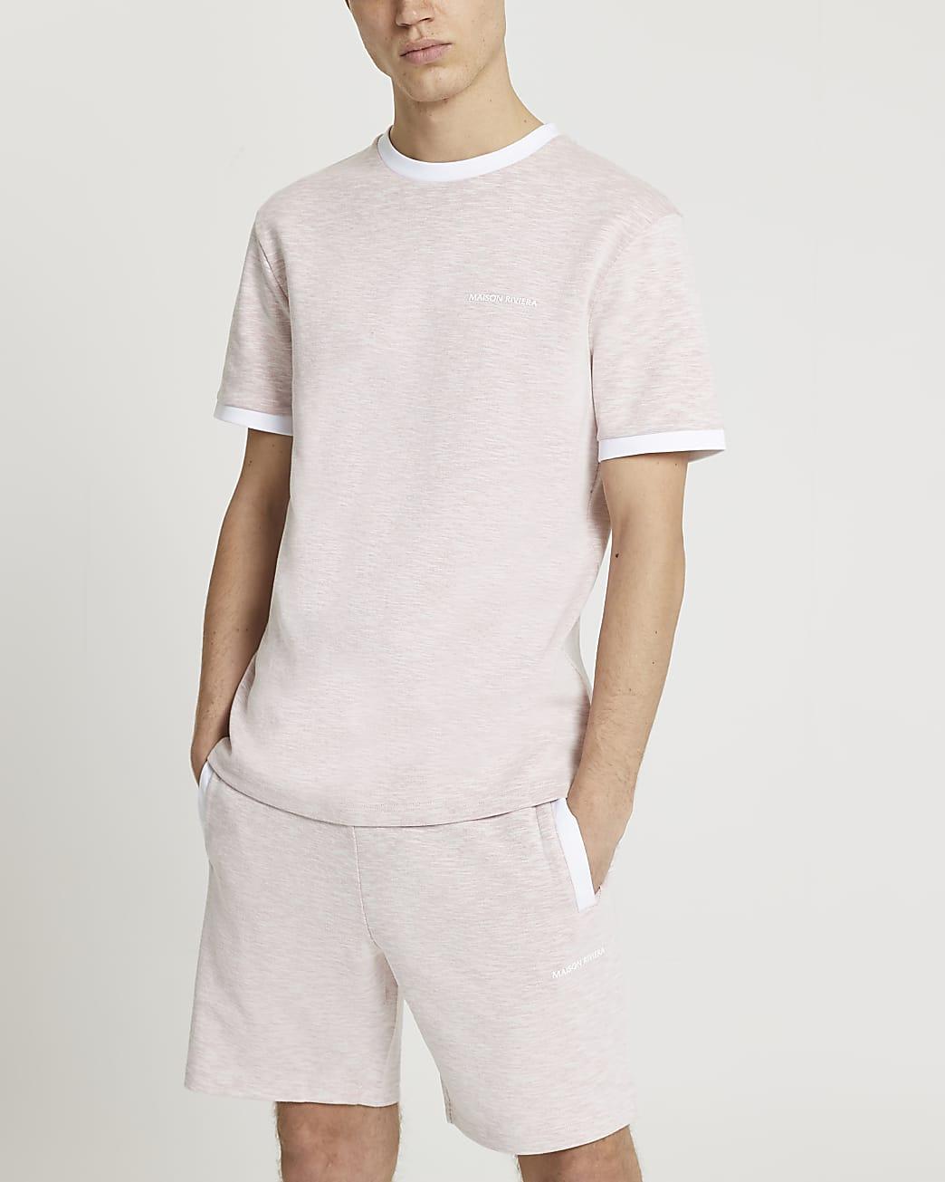 Maison Riviera pink slim space dye t-shirt