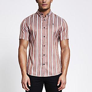 Maison Riviera - Roze gestreept slim-fit overhemd