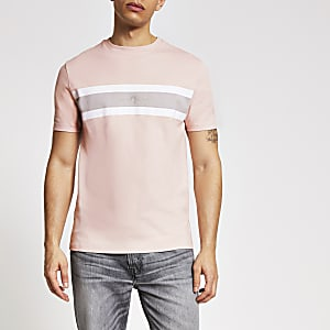 Maison Riviera – Rosa gestreiftes Slim Fit T-Shirt