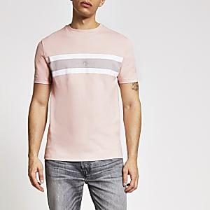 Maison Riviera – T-shirt slim roseà rayures