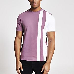 MaisonRiviera – Gestreiftes T-Shirt mit Blockfarben in Lila