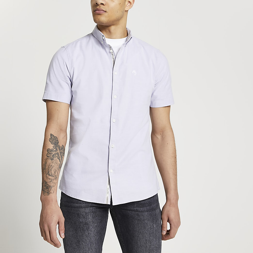 Maison Riviera purple slim fit oxford shirt