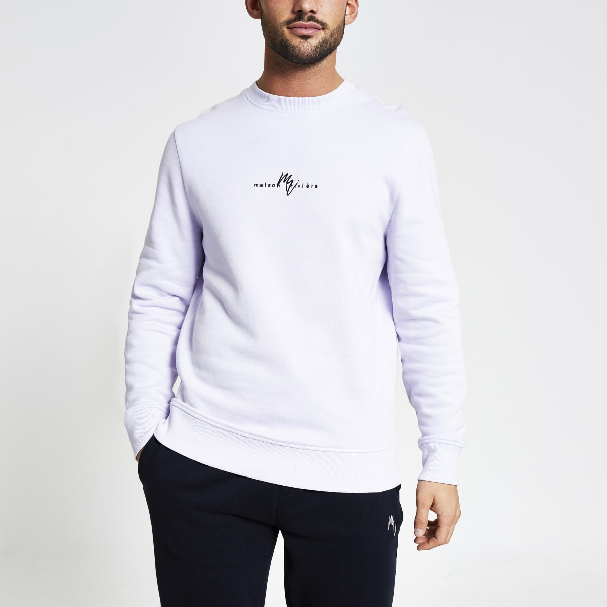 Maison Riviera purple slim fit sweatshirt